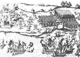 """Pedro de Mendoza en febrero de 1536 entra con sus embarcaciones menores en el """"Riachuelo de los Navíos"""", en cuya margen fundó la ciudad."""