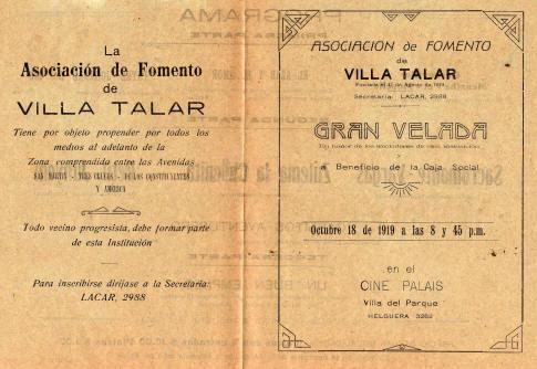 Programa de la Gran Velada a beneficio de la Asociación de Fomento Villa Talar