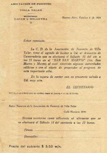 Villa Talar 1924 - Almuerzo camaradería