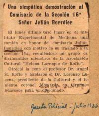 Villa Talar - Envio VII 1926/07 Gaceta Policial