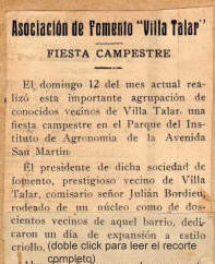 Villa Talar - Envio VII 1927/02/06-Rev Alm AFVT - Fiesta Campestre