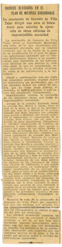 Villa Talar 1924 - Solicitud al Intendente