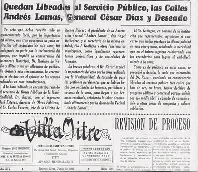 Nota Diario Villa Mitre