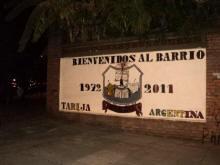 Mural en Tarija y Mármol, en el barrio de Boedo, realizado por Nahuel y Kevin