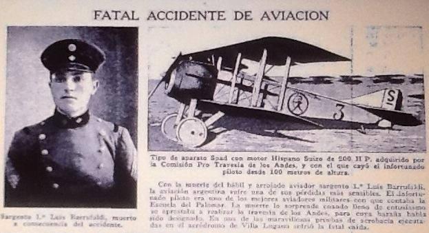 El Sargento Barrufaldi y un avion similar al accidentado en una nota de la Revista