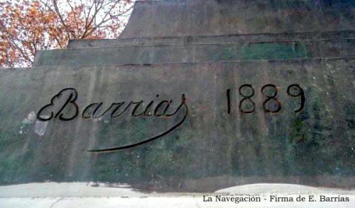 Mástil La Navegación - Plaza Sudamérica - Firma de su autor E. Barrias - Villa Riachuelo