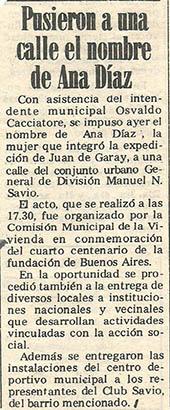 Inauguración calle Ana Díaz recorte diario
