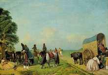 """""""Un alto en el campo"""" Prilidiano Pueyrredón, óleo sobre tela 76 x 166,2 cm."""