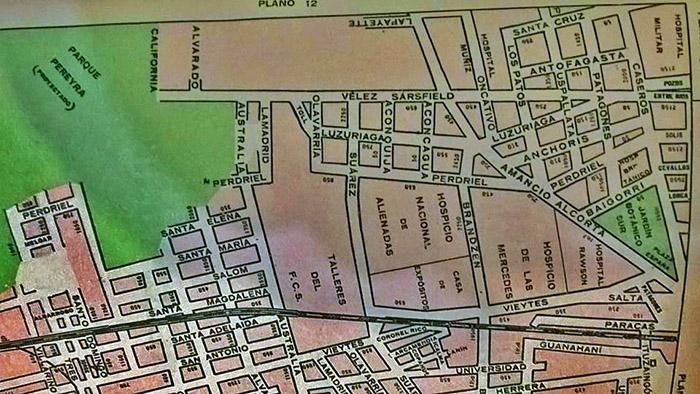 plano 3 zona de la Plaza España, grandes hospitales y limite con Barracas.