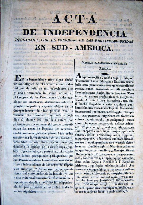Acta Argentina de Independencia en Aymará
