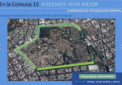 Parque lineal Jorge Newbery, proyecto para la Comuna 15
