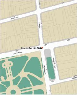mapa obtenido por dirección, en el sitio del Gobierno de la Ciudad de Buenos Aires, del cruce de Av. Caseros y La Rioja