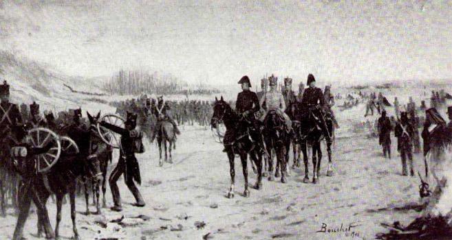 San Martín saliendo del campamento del Plumerillo Boceto del Oleo y de dos tintos de José Bouchet, 1901. Museo Histórico Nacional.