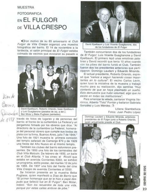 Dias de Barrio, nota sobre muestra fotográfica en el Club Fulgor