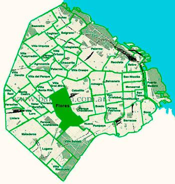 el barrio de Flores en el mapa