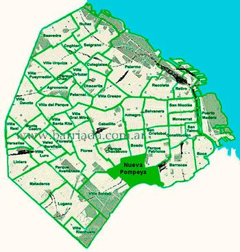 Nueva Pompeya en el mapa de los barrios