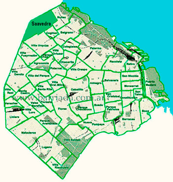 Saavedra en el mapa de los barrios