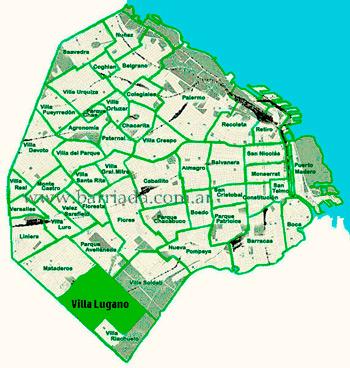 Villa Lugano en el mapa de los barrios