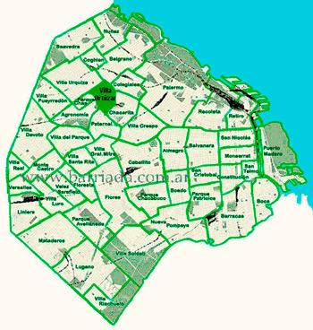 Villa Ortúzar  en el mapa de los barrios