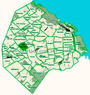 Villa Santa Rita en el mapa de los barrios