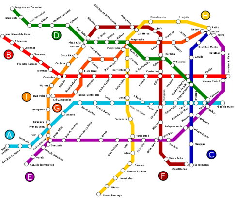 Mapa de la ampliación aprobada de la red de subterráneos de Buenos Aires