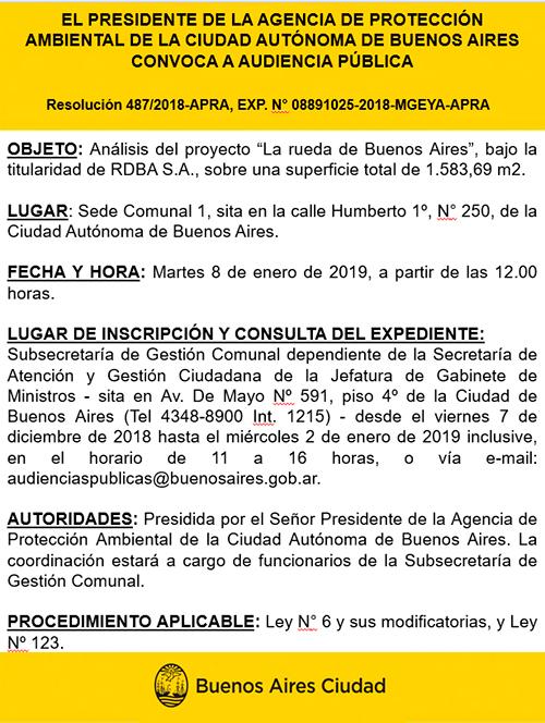 Resolución 487/2018-APRA, EXP. N° 08891025-2018-MGEYA-APRA