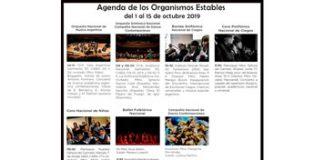 Agenda de los Organismos Estables del 1 al 15 de octubre 2019