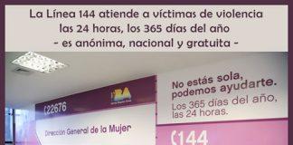 Línea 144 atiende a víctimas Funciona las 24 horas, los 365 días del año. Además es anónima, nacional y gratuita.