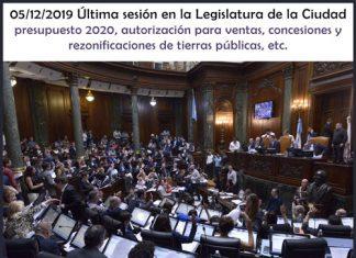 Jueves 05/12/2019 última sesión del año en la Legislatura porteña